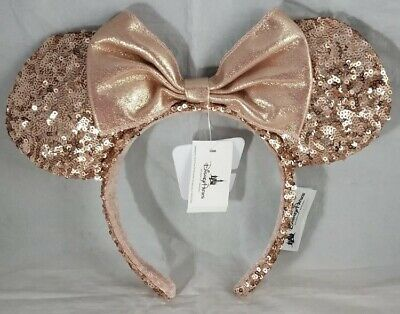 Disney Parks Minnie Mouse Ears Hat Headband ROSE GOLD Sequin - RETIRED New NWT
