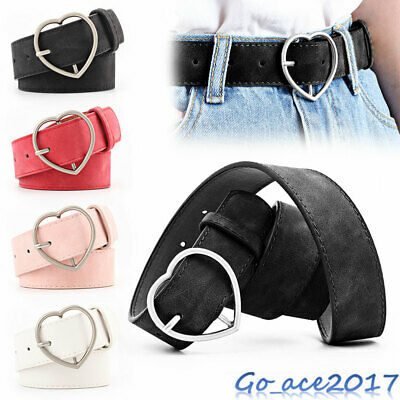 Women Heart Buckle Belt Stretch Elasticated Dress Jeans Faux Leather Waistband
