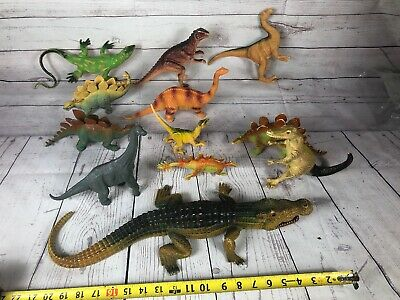 Vtg Dinosaur Toy Figures Lot Of 12.   1990's Mostly Rare. Imperial And Others