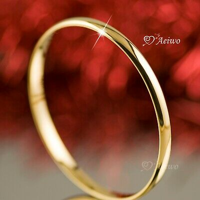 18K 18Ct Yellow Gold Filled Slip On Solid Bangle Lady Womens Bracelet 6Mm