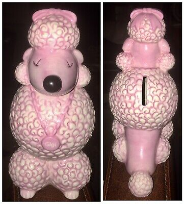 "Rare Vintage Mary Kay Ash Charitable Foundation Ceramic ""GIGI"" Pink Poodle Bank"