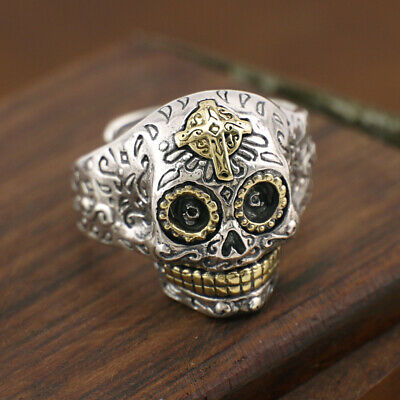 925 Sterling Silver Sugar Skull Skeleton Cross Ring Biker Punk Men A3332