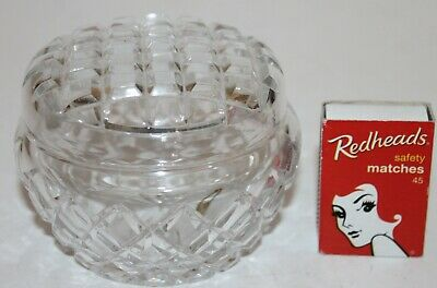 Crystal Round Box Diamond Cut Glass Lid Dressing Table Trinkets Vanity Vintage *