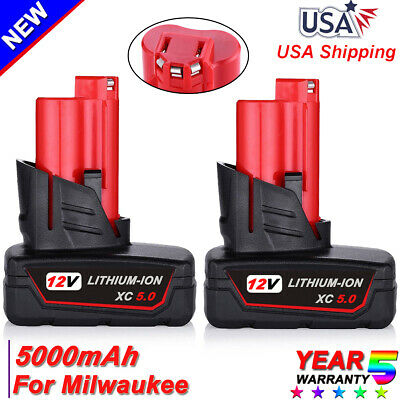 2X For Milwaukee 48-11-2460 M12 48-11-2402 LITHIUM XC 5.0AH Compact Battery Pack
