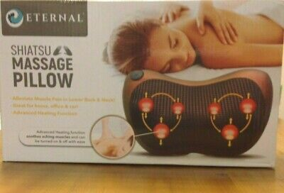 Eternal Shiatsu Massage Pillow Home Car Temp Portable Removable Cover *Open Box*