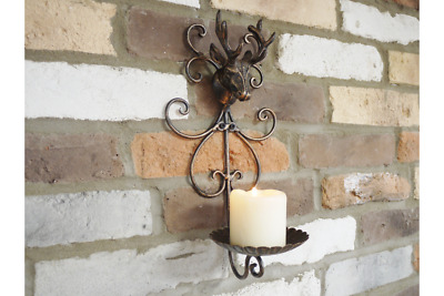 Stag Candle Holder Wall Mount Cast Iron Antique Deer Decor Living Room Pillar