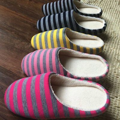 Winter Warm Soft Plush Indoor Home Floor Anti-skid Slippers Striped Cloth HI