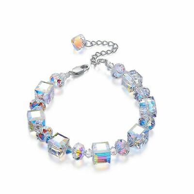 "Womens Aurora Borealis Crystal Bracelet Square Bangle Chain Adjustable 7"" to 9"""
