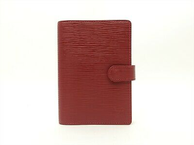 Louis Vuitton Authentic Epi Leather Rubis Agenda fonctionnel PM Diary cover Auth