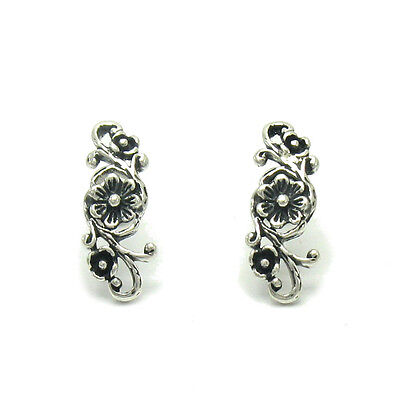 Handmade Sterling Silver Earrings Solid 925 Flowers New Perfect Quality Empress