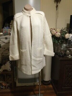 Vintage Button Front Oversized Cardigan/jacket White Rib Knit KATIES size L