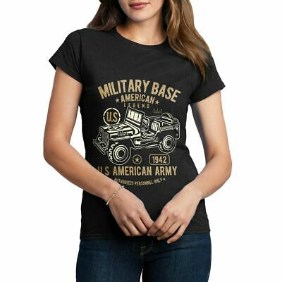 American Jeep Army US Military Base Legend Force Retro Class Womens T-Shirt A005