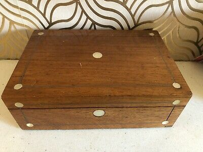 Beautiful Antique Jewellery Box With Mother Of Pearl Inlay