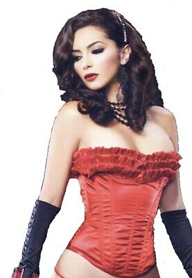 "NEW Leg Avenue Corset Red Sexy Lace Up Boned ""Eva"" Pleated Ruffles  Med  C729"