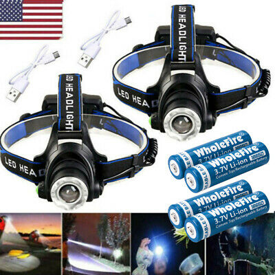 650000Lumen T6 LED Zoomable Headlamp USB Rechargeable 18650 Headlight Head Light
