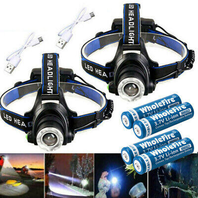 900000Lumen T6 LED Zoomable Headlamp USB Rechargeable 18650 Headlight Head Light