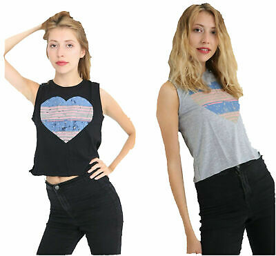 Wholesale Joblot Womens Heart Print Ladies Sleeveless Short T-Shirt Top Gothic