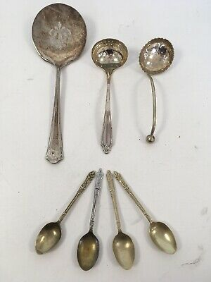 Joblot Of Decorative EPNS Silver Plated Teaspoons Spoons Tableware Antique