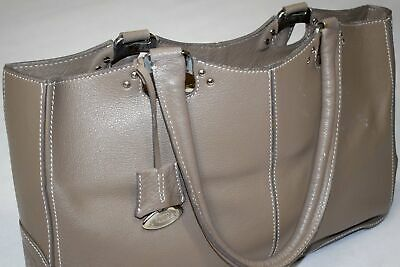 TODS Hand Bag Hand Tasche Schulter Henkel Grau Leder Leather Business Vintage