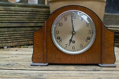 GARRARD Westminster Chimes Three Train Oak Case Mantel Clock