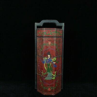 "15"" Chinese old Antique Lacquer ware wooden handmade Beauty ti foot box statue"
