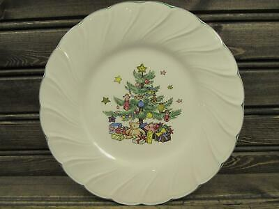 Happy Holidays by Nikko Bread Plate Christmas Tree Stars & Presents Swirled s103