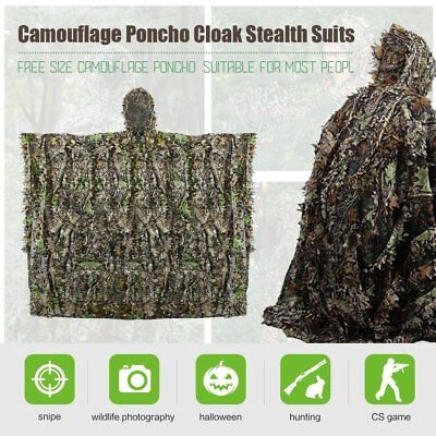 3D LEAVES CAMO Poncho Cloak Stealth Ghillie Suit Outdoor Woodland CS