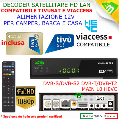 Decoder Tivu'sat Compatibile Combo Uclan Denys H.265 Pro Completo di Card