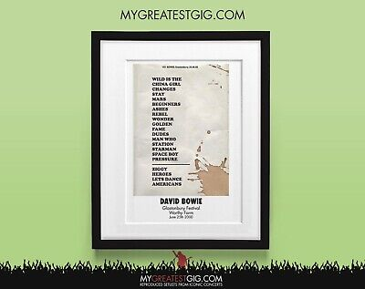 David Bowie - Glastonbury Festival - June 25th 2000 - Recreated Set List Poster