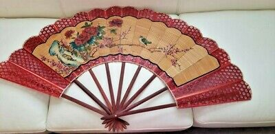 """Vintage Hand Painted Oriental Asian Wall Fan Wood Extra Large 45""""X25"""" Decorator'"""