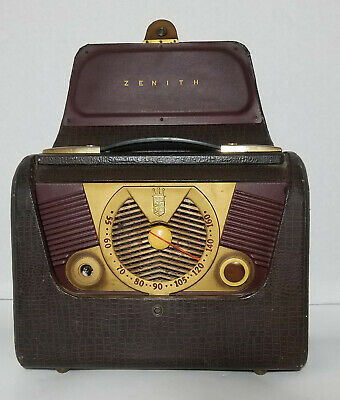 Vintage 1950`s Zenith Portable Tube Radio Model H503 / Chassis 49CZ709