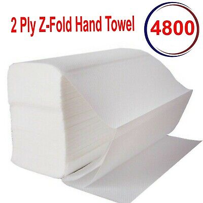 4800 Luxury White 2ply Z Fold Paper Hand Towels MultiFold Napkins