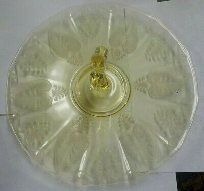 Antique Elegant Fostoria Trojan Etched Sandwich Orderves Server Topaz Yellow