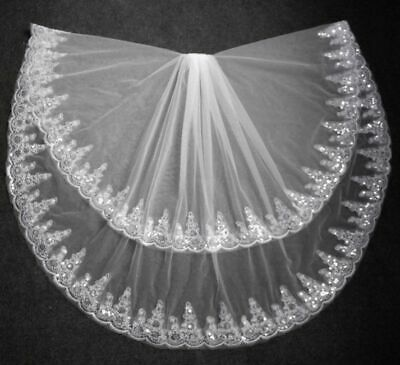 Two Layer Bridal Veil White Ivory Tulle Wedding Accessories Comb Lace Edge Veils