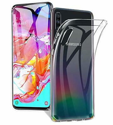 For Samsung A70 A50 Slim TPU Transparent Clear Gel Case+Screen Protector Cover