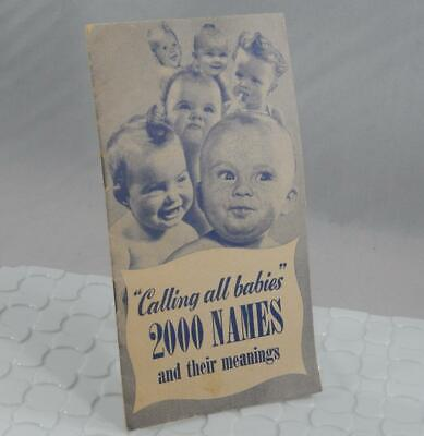 "VIntage Mennen Baby Oil Powder ""Calling all Babies"" 2000 Names Pamphlet P0170"