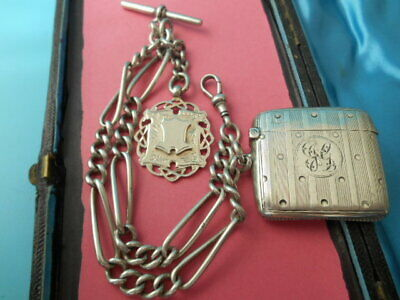 ANTIQUE SOLID SILVER ART DECO DOUBLE ALBERT CHAIN VESTA CASE & FOB NOT SCRAP 80g