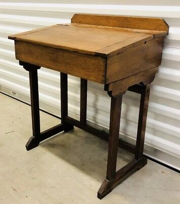 Antique Paris Mfg. Co. Maine,U.S.A. #20 Oak Slant Front School Desk with Storage