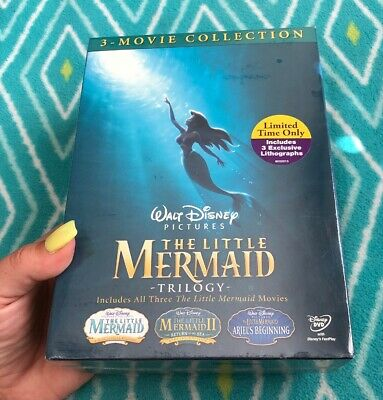 THE LITTLE MERMAID TRILOGY Movie Collection Lithographs Walt Disney DVD SET NEW•