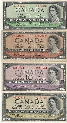 Bank of Canada 1954 Devils Face Banknotes, $1, $2, $10 & $20