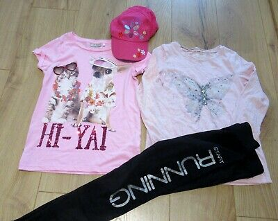 £60 girls bundle T shirt long NEXT tops leggings age 9 - 10 - 11 years USED ONCE