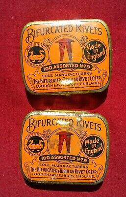 2 Vintage Advertising Tin - Bifurcated Rivets with contents