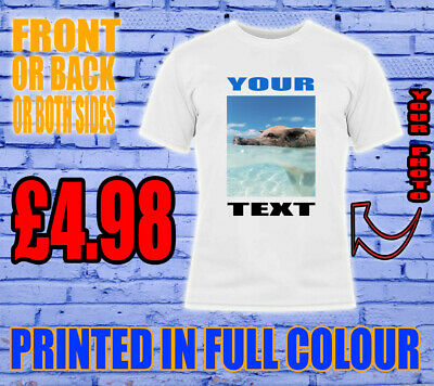 Printed T-Shirt Adult Personalised Unisex Stag Hen Kids Custom Your Text Photo