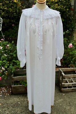 Wonderful French Antique White Cotton Nightdress with Exquisite Lace Detail 1900