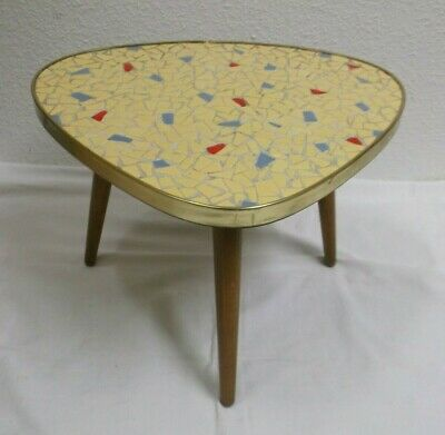 1950s 1960s Side Table Flower Stool Tripod Mosaic mid Century 50s 60s