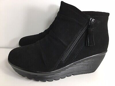 SKECHERS BLACK SUEDE Ankle Zip Up Air Cooled Memory Foam