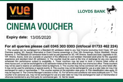 VUE CINEMA VOUCHERS - VALID NATIONWIDE UNTIL 13th MAY 2020