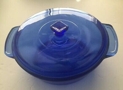 "Anchor Hocking Ovenware Cobalt Blue Glass Casserole 9"" 2 Qt With Lid"