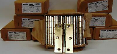 """Pairs Internal Door Brass Plated Steel Butt Hinges 3.5"""" Inch Loose Pin 88 x 32mm"""