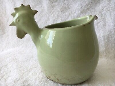 VIETRI Bellezza celadon Small Pitcher with Rooster Head Handle EUC